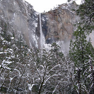 Bridalveil Falls in Yosemite National Park in winter.