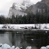 The Merced River and Bridalveil Falls in winter.