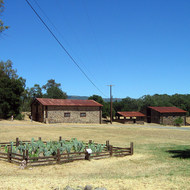 A cactus patch and barns of the Beauty Ranch, Jack London State Park.