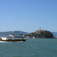 An excursion boat taking tourists to Alcatraz.