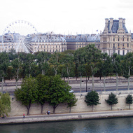 A view from the upper floor of the Orsay Museum, looking across the Seine to the Tuileries and the Louvre.