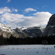 Looking across the meadow near the Ahwahnee Hotel toward Camp Curry.