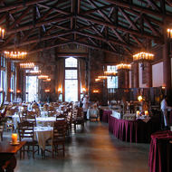 The dining room of the Ahwahnee Hotel, with a setup for a special event.