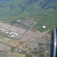 An aerial view of the East Bay hills and development of the San Francisco Bay Area.
