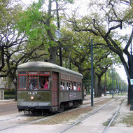 The St. Charles Avenue streetcar in New Orleans.