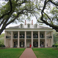 A view of the mansion at Oak Alley Plantation (near New Orleans) from among the famous oak trees.