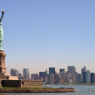 The Statue of Liberty with lower Manhattan in the background.