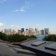 A view of Manhattan from the arrivals hall on Ellis Island.