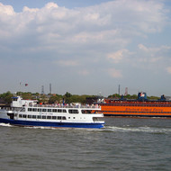 Two ferries passing in New York Harbor.