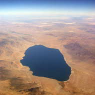 An aerial view of a lake in the Basin and Range province.