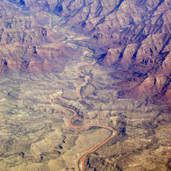 An aerial view of the Green River emerging from the Desolation and Gray canyons in the American Southwest.