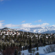 A view from Tahoe-Donner Cross-Country east to Sierra Nevada peaks north of Lake Tahoe.