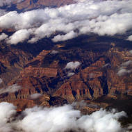 The Grand Canyon shrouded in clouds.