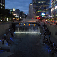 The Cheonggye Stream in downtown Seoul -- an extremely successful urban renewal project.