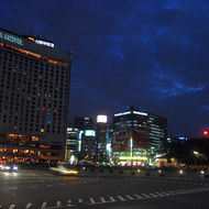 A view of downtown Seoul at the Seoul Plaza.