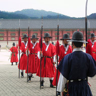 The changing of the guard ceremony at the Gyeongbokgung Palace.