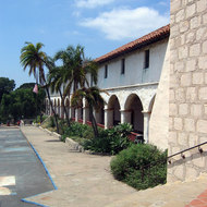 An exterior view of the Santa Barbara Mission.