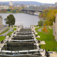 Rideau Canal, looking toward the Royal Alexandra Interprovincial Bridge and Quebec.
