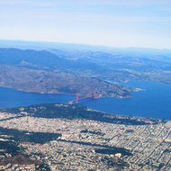 Looking out over San Francisco north to the Golden Gate and Marin County from a commercial jet.