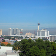 A view of the North Strip in Las Vegas from the Lied Library at the University of Nevada, Las Vegas.