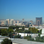 A view of the Strip in Las Vegas from the Lied Library at the University of Nevada, Las Vegas.
