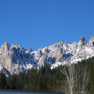 Castle Crags State Park in winter.