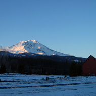 A view of Mt. Shasta in winter from the McCloud railroad siding.