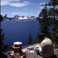 A picnic on the edge of Crater Lake.