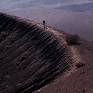 Strolling on the edge of Ubehebe Crater in Death Valley National Monument.