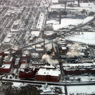 An aerial view of an Eastman Kodak plant in Rochester, NY in winter (February 2007).