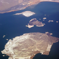 An aerial view of the islands in Mono Lake.