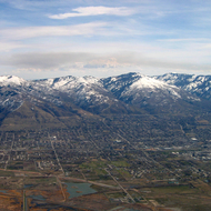 An aerial view of Bountiful, Utah with the Wasatch Mountains.