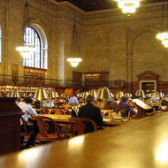 One of the main reading rooms in the main branch of the New York Public Library.