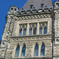 A close-up of part of the Centre Block building of the Canadian Parliament.