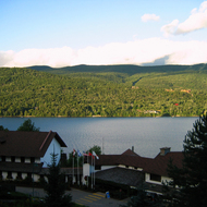 Lake Tremblant and the L'Hotel du Lac at Mont Tremblant.