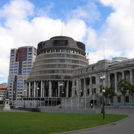 The New Zealand Executive Wing (The Beehive, left), and the Parliament House (right).