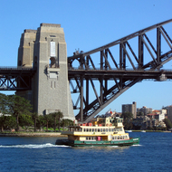 Part of the Sydney Harbour Bridge and one of the ubiquitous ferries.