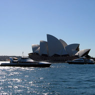 Ferries and the Sydney Opera House from the other side of Sydney Cove.