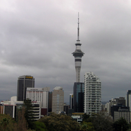 A view of downtown Auckland, including the Sky Tower (328 metres tall).