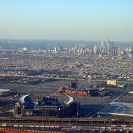 An aerial view of Philadelphia, Pennsylvania.