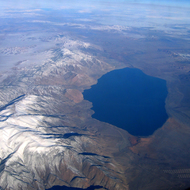 An aerial view of Walker Lake in winter.