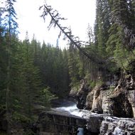 The top part of the Upper Falls of Johnston Creek in Johnston Canyon, Banff National Park.