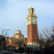 A clock tower on the Brown University campus in Providence, RI.