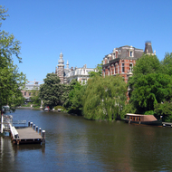 The canal in front of the Rijksmuseum in Amsterdam.