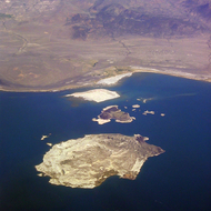 A view of the islands in Mono Lake from a commercial jet.
