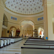 The interior of the Baltimore Basilica of the National Shrine of the Assumption of the Virgin Mary, America's first cathedral.