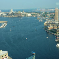 Looking out from the Baltimore Inner Harbor into Chesapeake Bay from the World Trade Center in Baltimore.