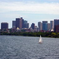 A view across the Charles River to Boston from Cambridge.