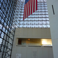 A view from inside the John F. Kennedy Presidential Library and Museum in Boston.