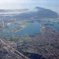 The Mission Bay area of San Diego from a commercial jet.